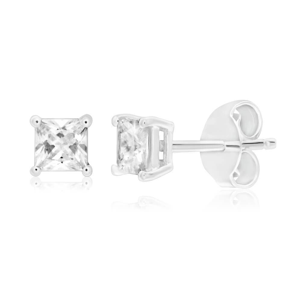 Sterling Silver Cubic Zirconia 4mm Princess Cut Stud Earrings