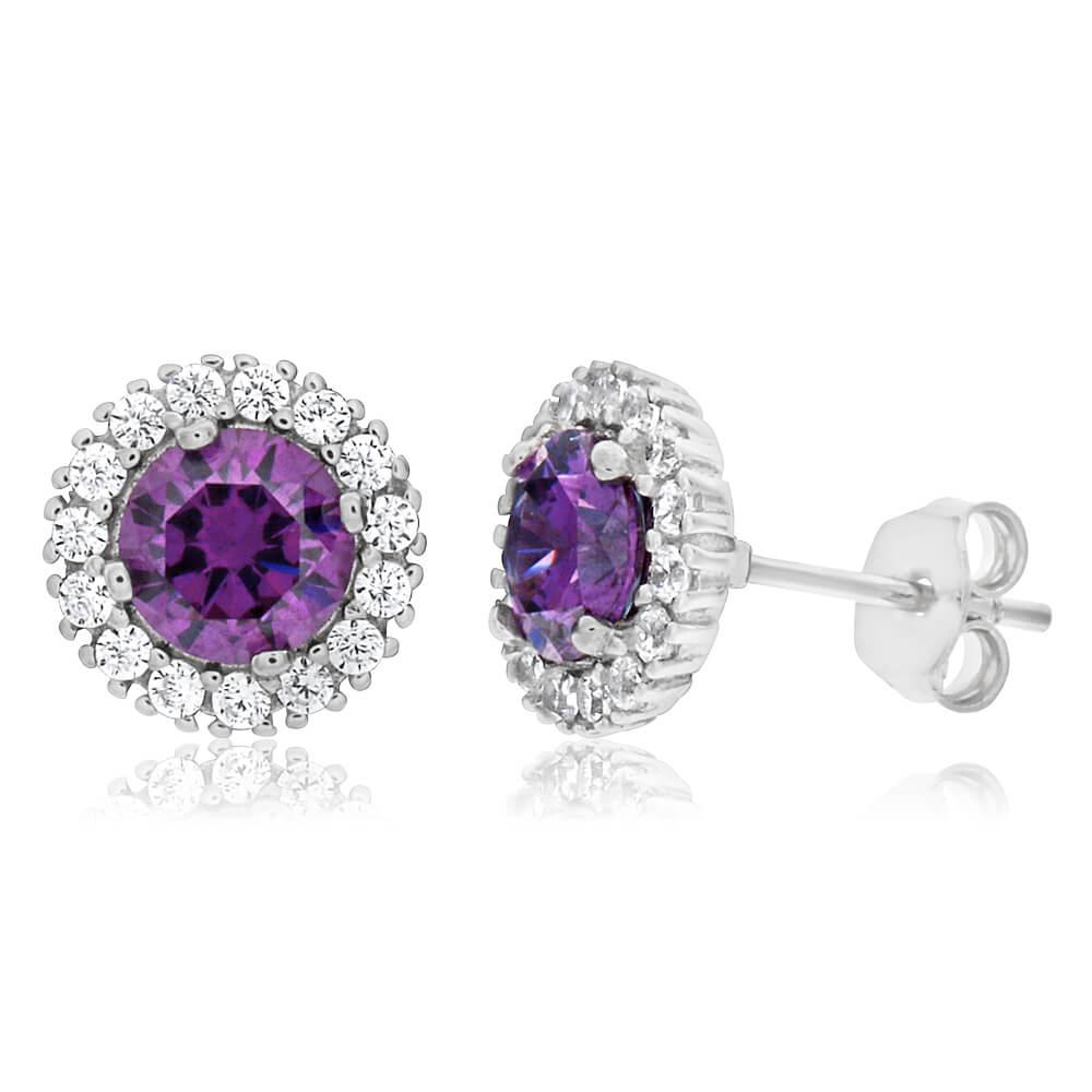 Sterling Silver Rhodium Plated Purple Zirconia + White Zirconia Stud Earrings