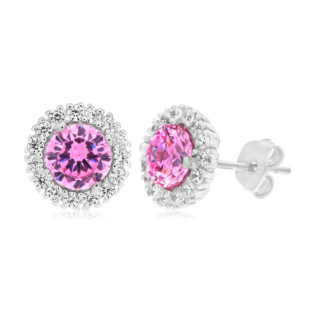 Sterling Silver Rhodium Plated Pink Cubic Zirconia Stud Earrings