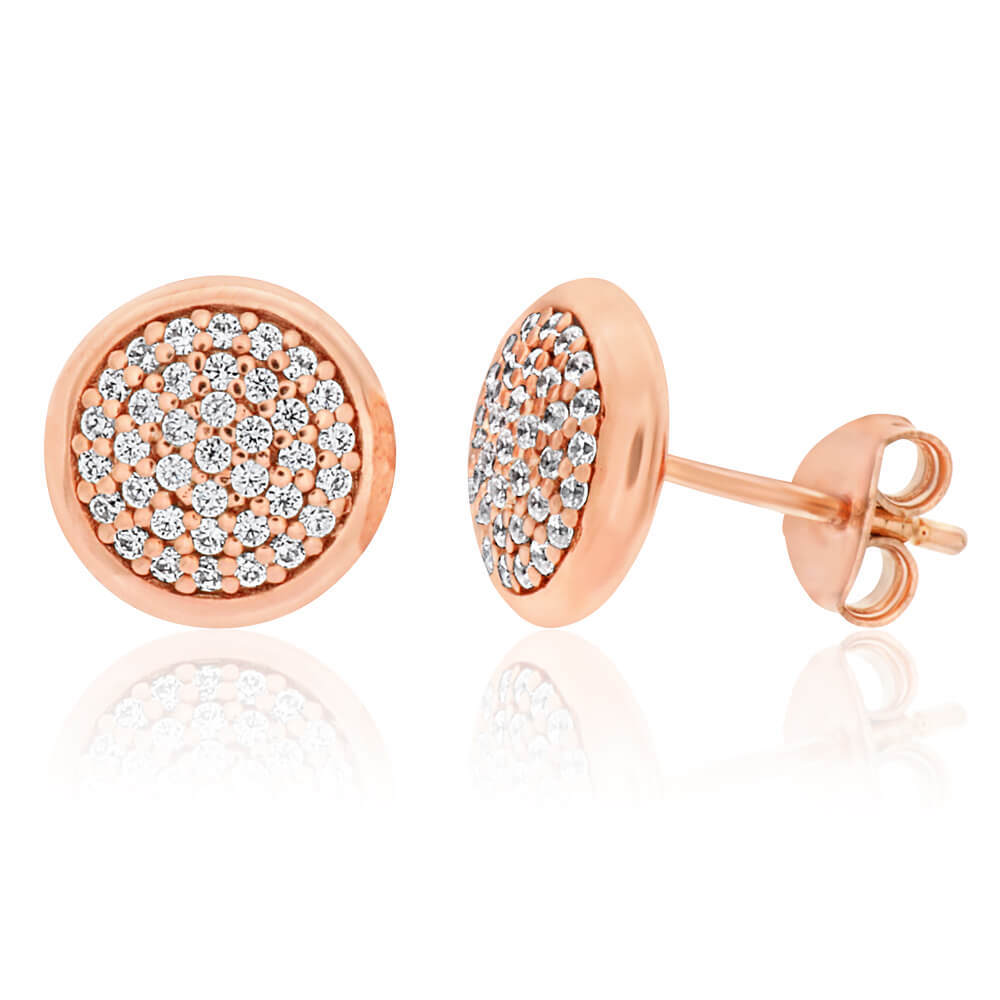 Gold Plated Sterling Silver Cubic Zirconia Pave Round Stud Earrings