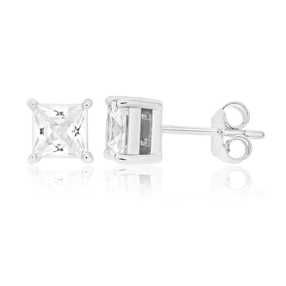 Sterling Silver Cubic Zirconia Princess Cut 5mm Stud Earrings