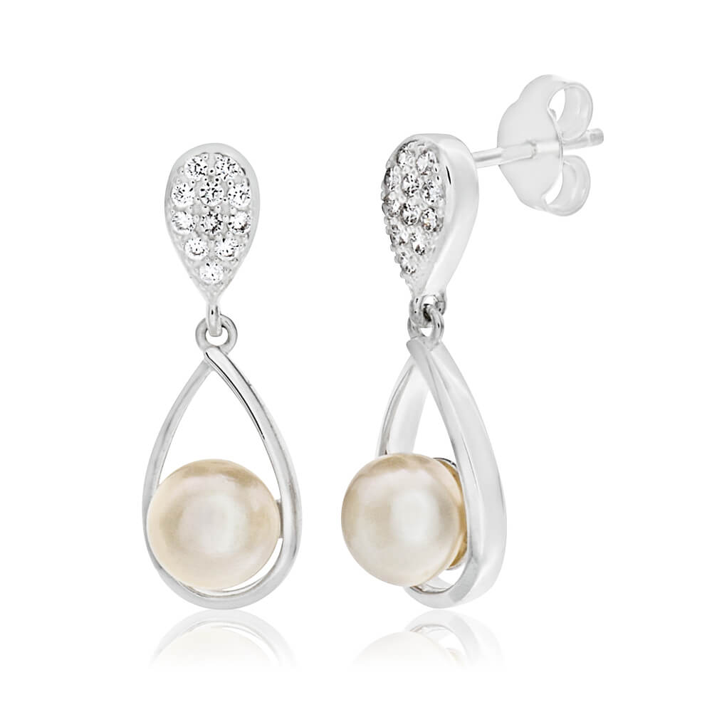 Sterling Silver Cubic Zirconia + Pearl Drop Earrings