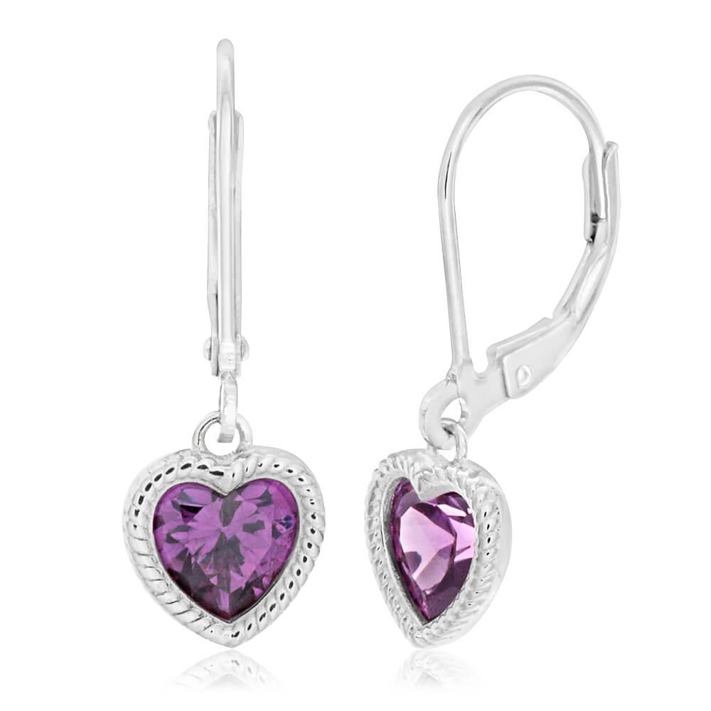 Sterling Silver Rhodium Plated Purple Cubic Zirconia Heart Drop Earrings