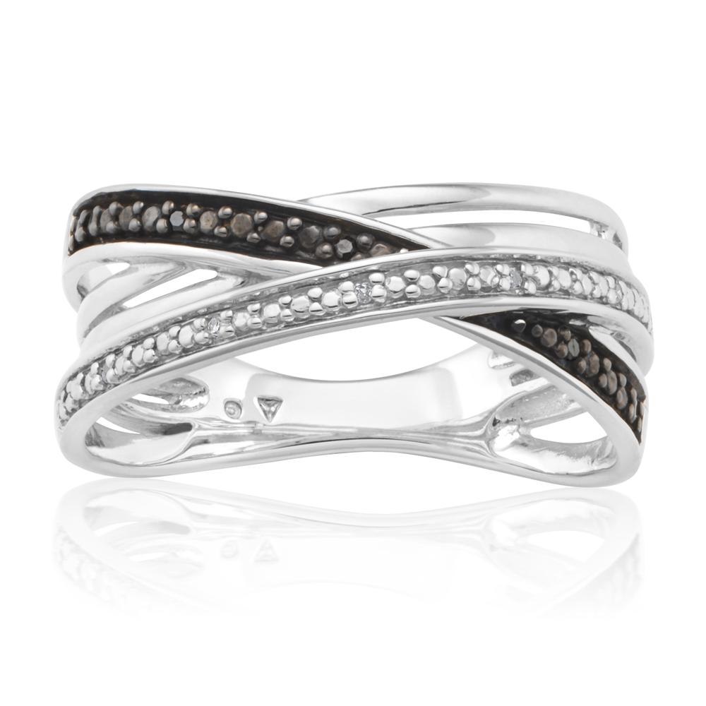 Black Diamond Sterling Silver Crossover Diamond Ring