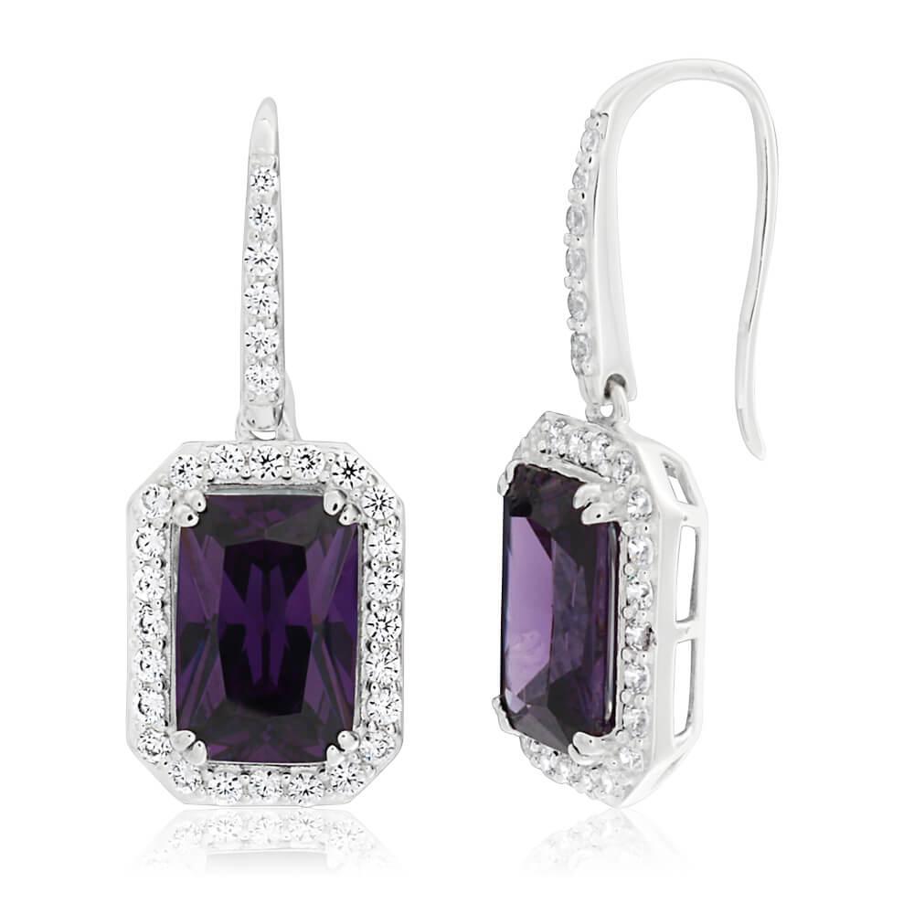 Sterling Silver Purple Cubic Zirconia Drop Earrings