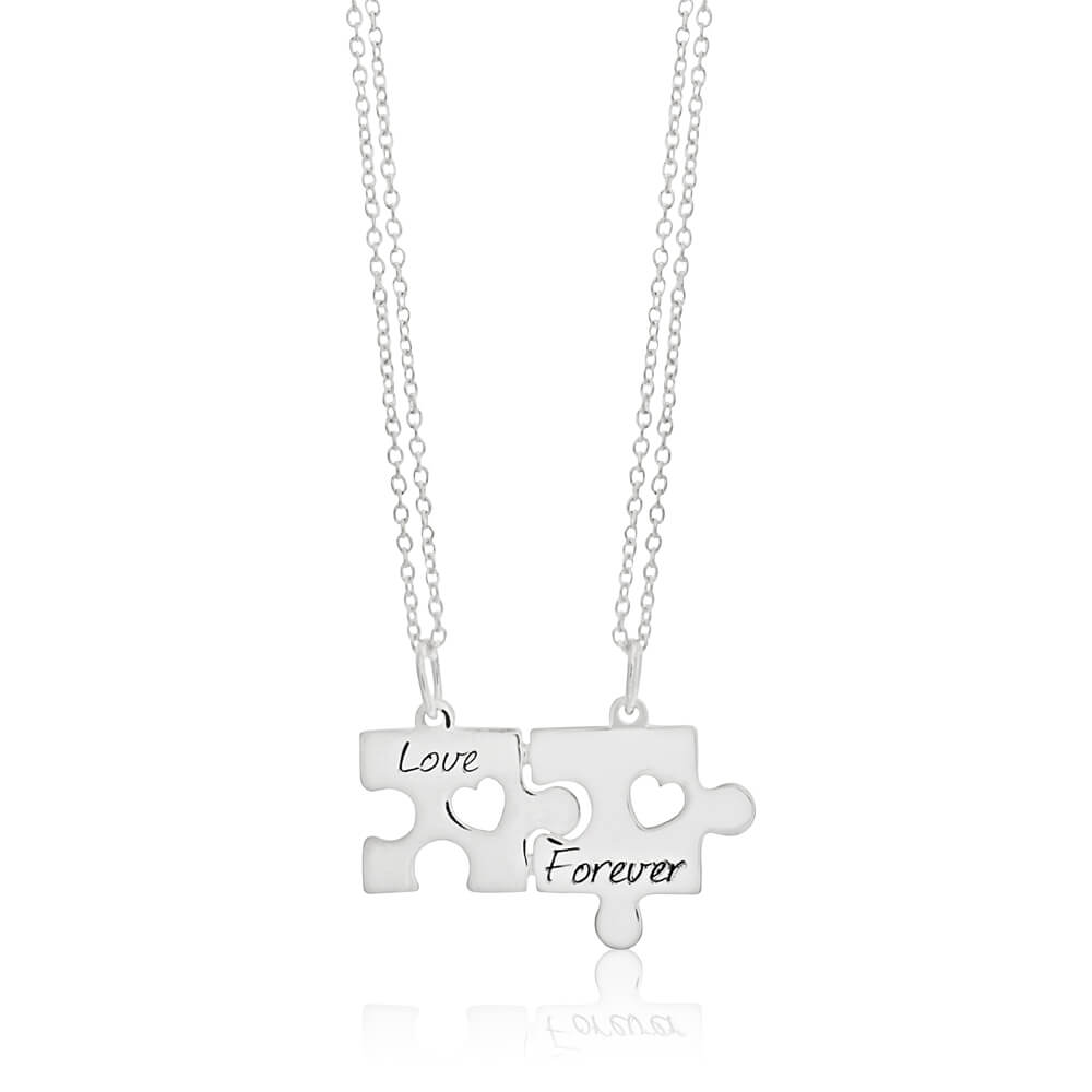 Sterling Silver Love Forever Puzzle Break Pendant With 45cm Chains