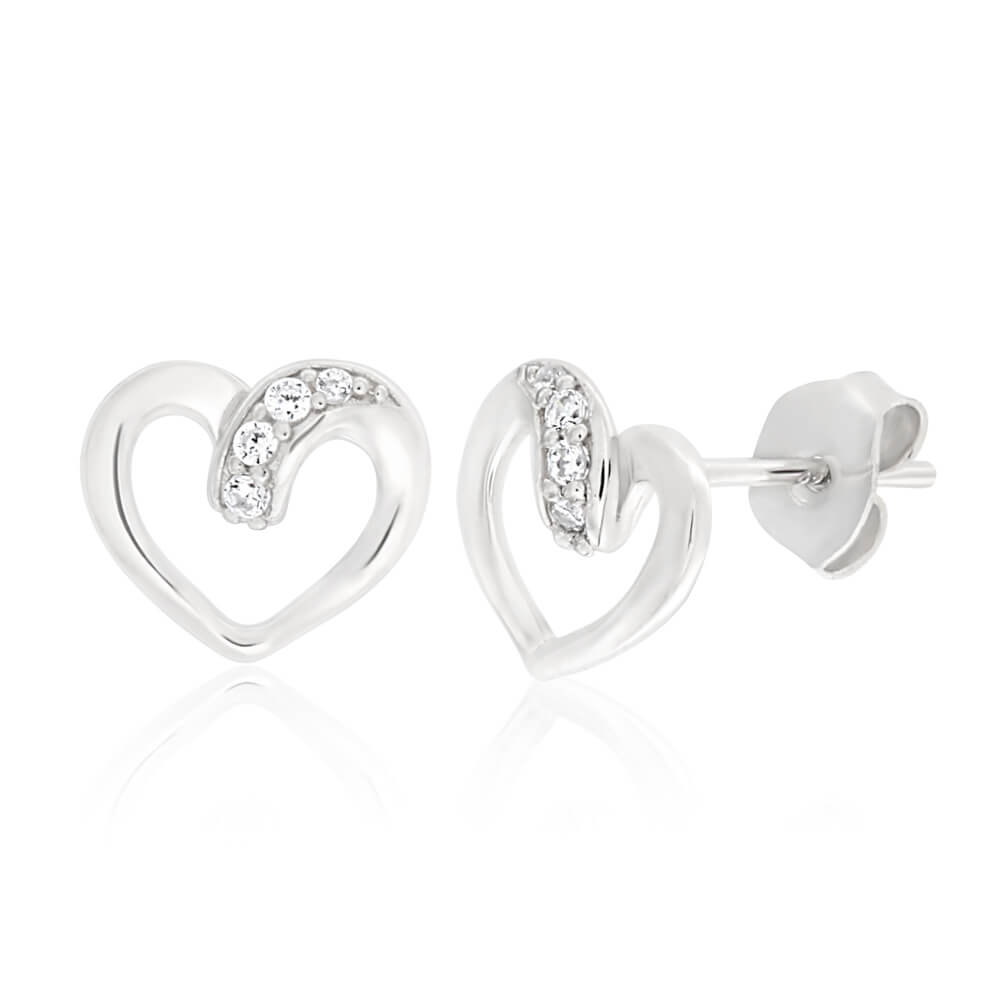 Sterling Silver Rhodium Plated Cubic Zirconia Open Heart Stud Earrings