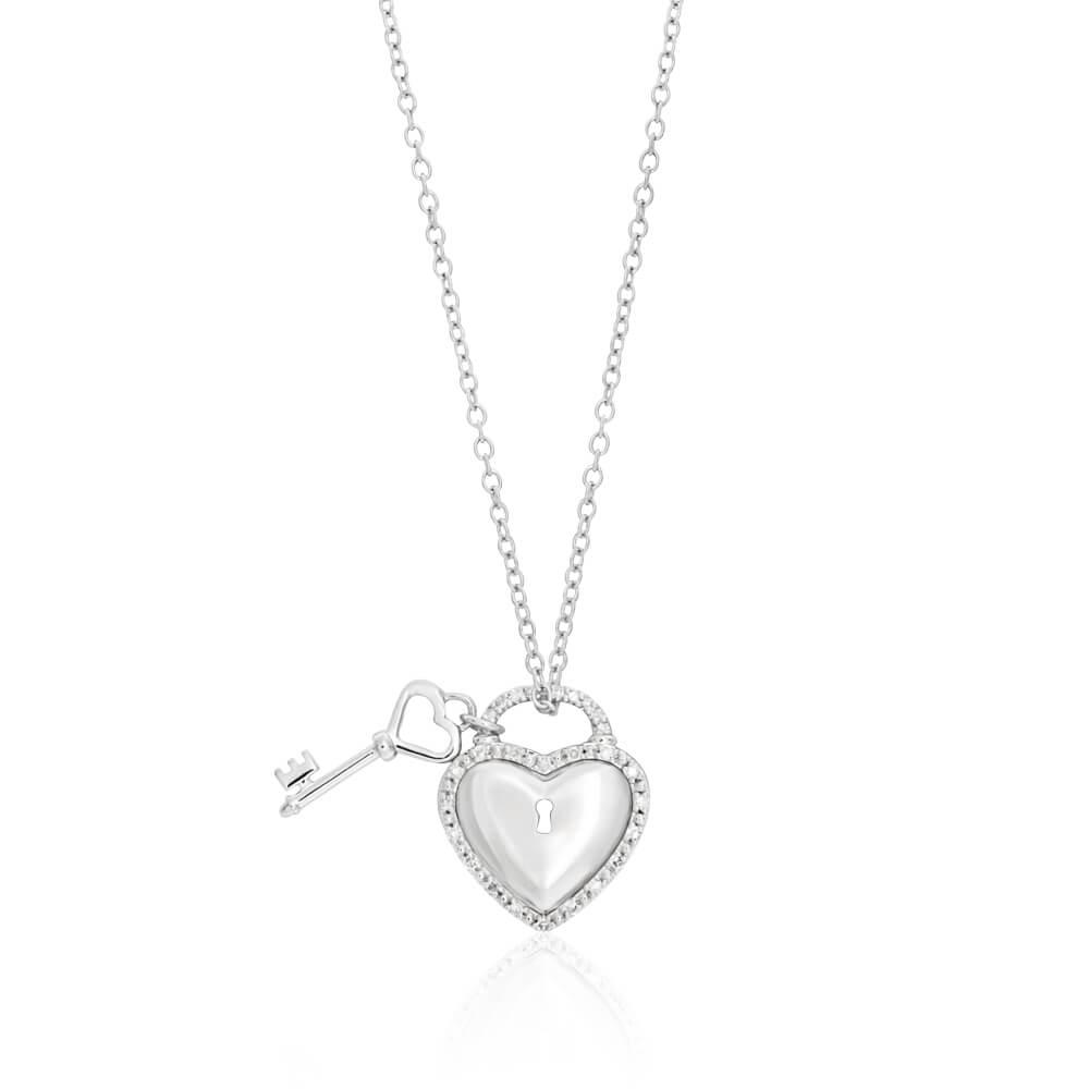 Sterling Silver Diamond Pedia Pendant With 45cm Chain
