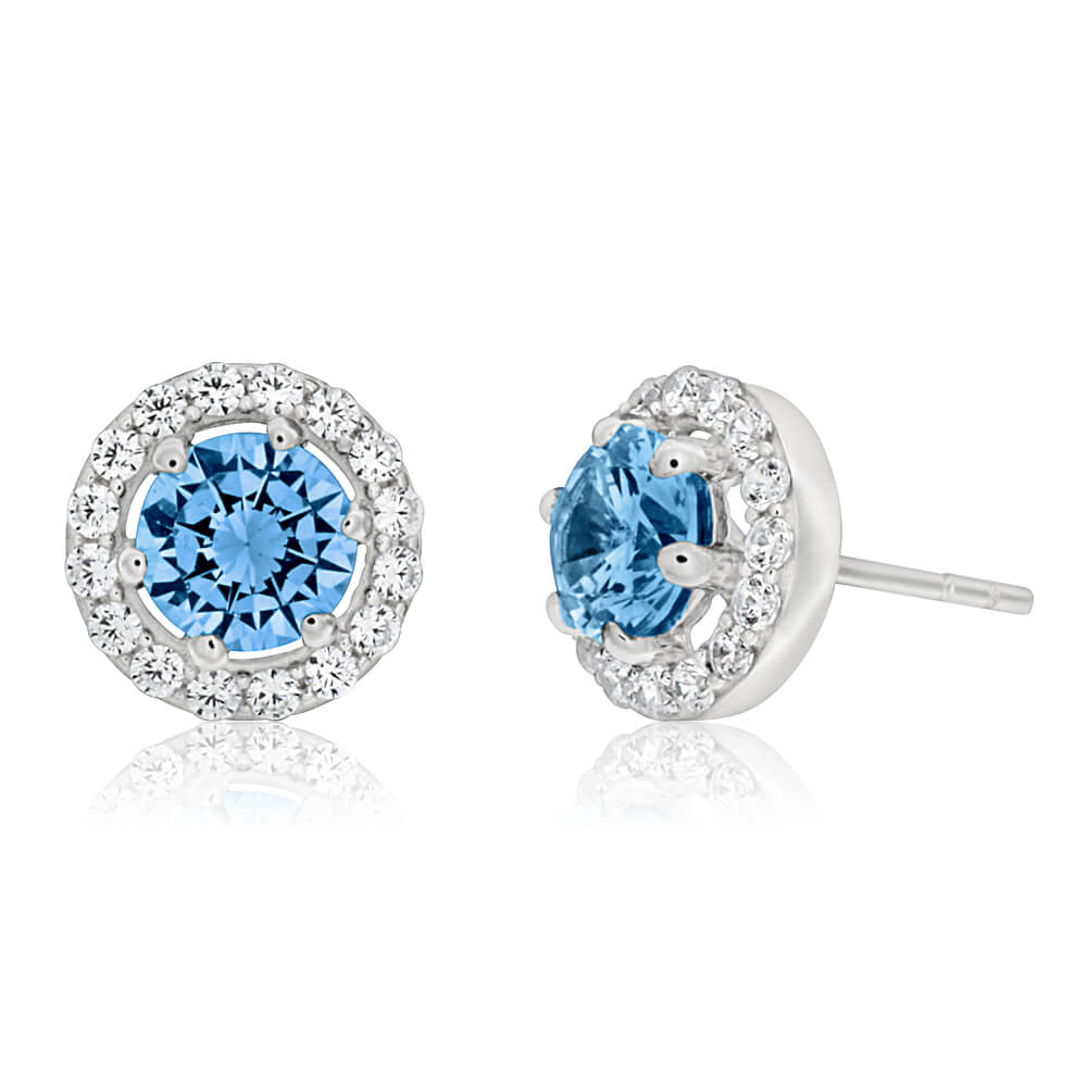 Sterling Silver Aqua Cubic Zirconia + White Cubic Zirconia Stud Earrings