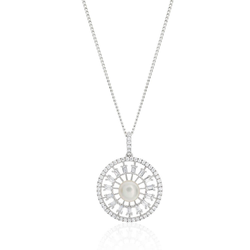 Sterling Silver Cubic Zirconia + Freshwater Pearl Fancy Pendant