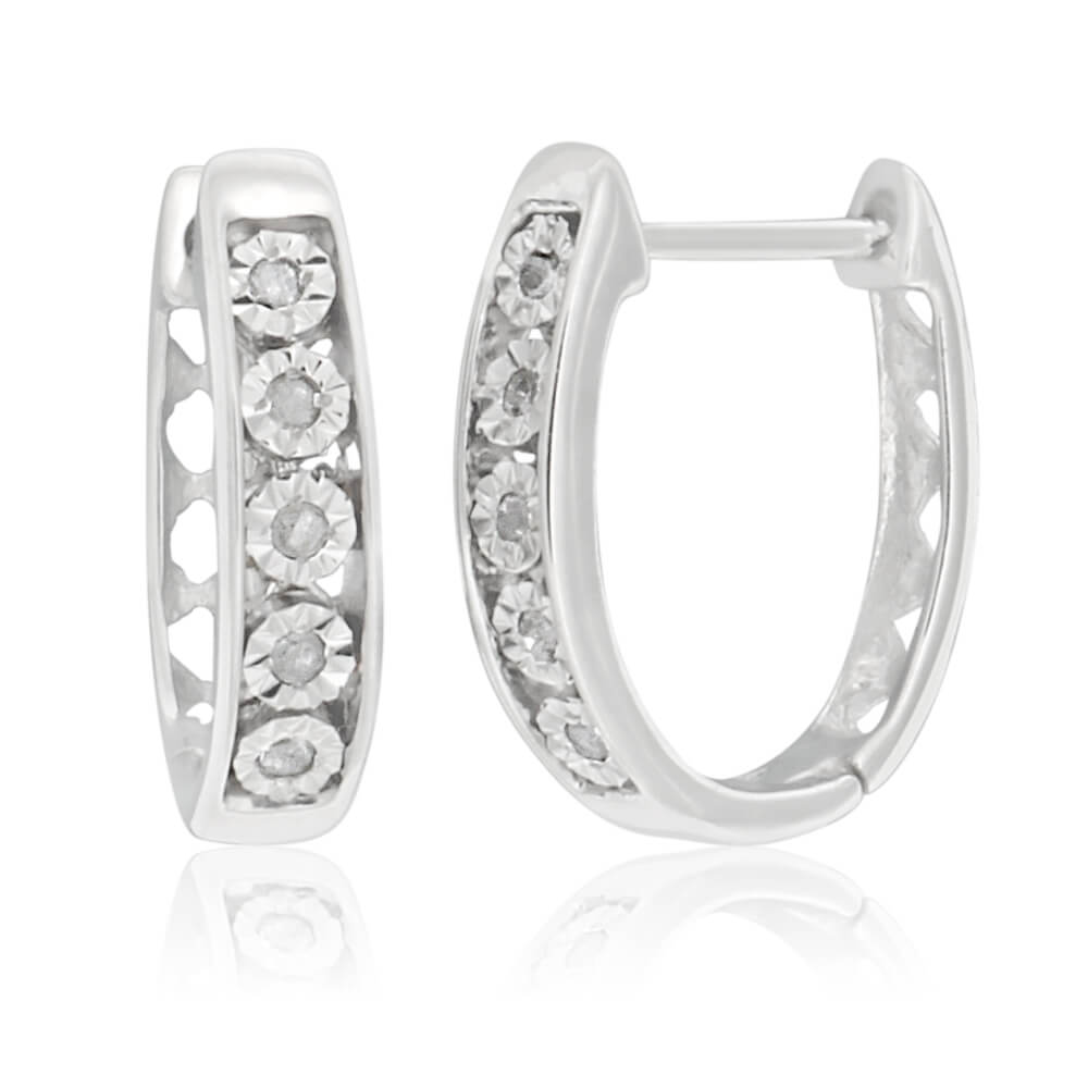 Sterling Silver Hoops with Diamonds