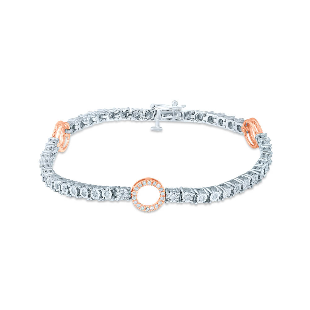 Sterling Silver and 9ct Rose Gold Tennis Bracelet with 1.00 Carat of Diamonds