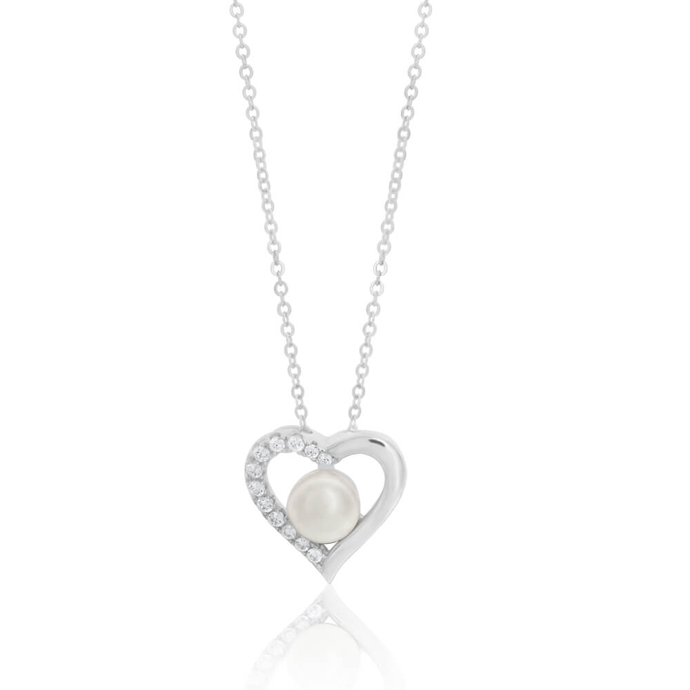 Sterling Silver Freshwater Pearl and Cubic Zirconia Heart Pendant With 45cm Chain