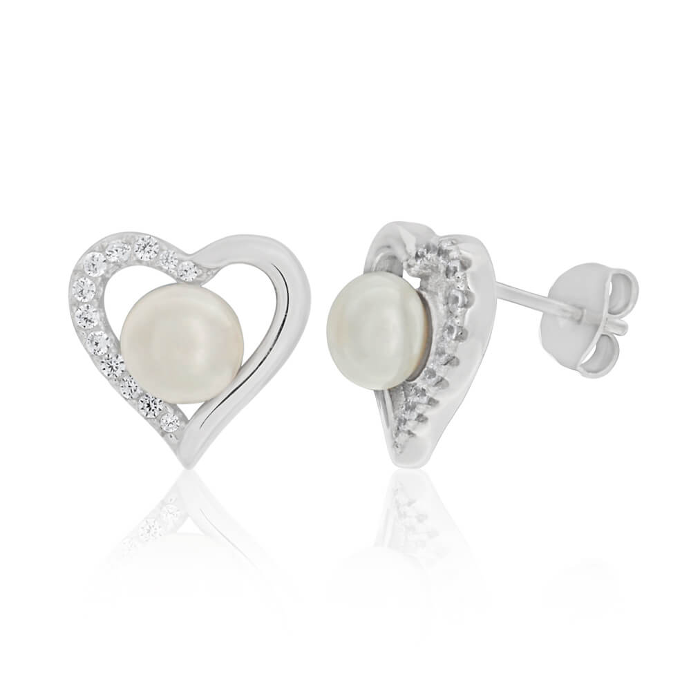 Sterling Silver Freshwater Pearl and Zirconia Heart Stud Earrings
