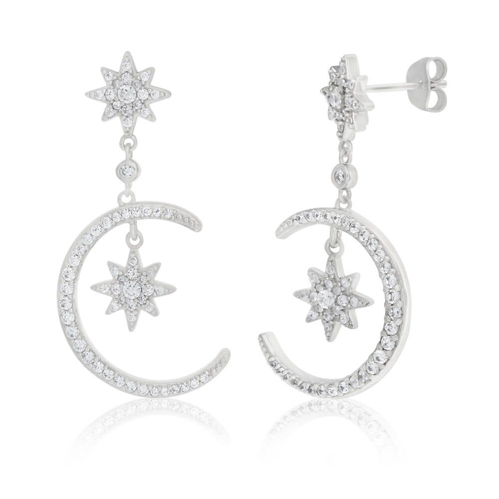 Sterling Silver Cubic Zirconia Moon & Star Drop Earrings