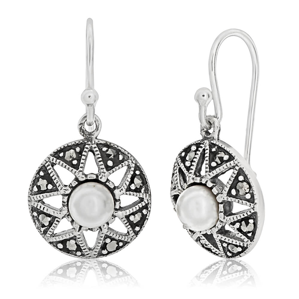 Sterling Silver Round Marcasite + Pearl Earrings