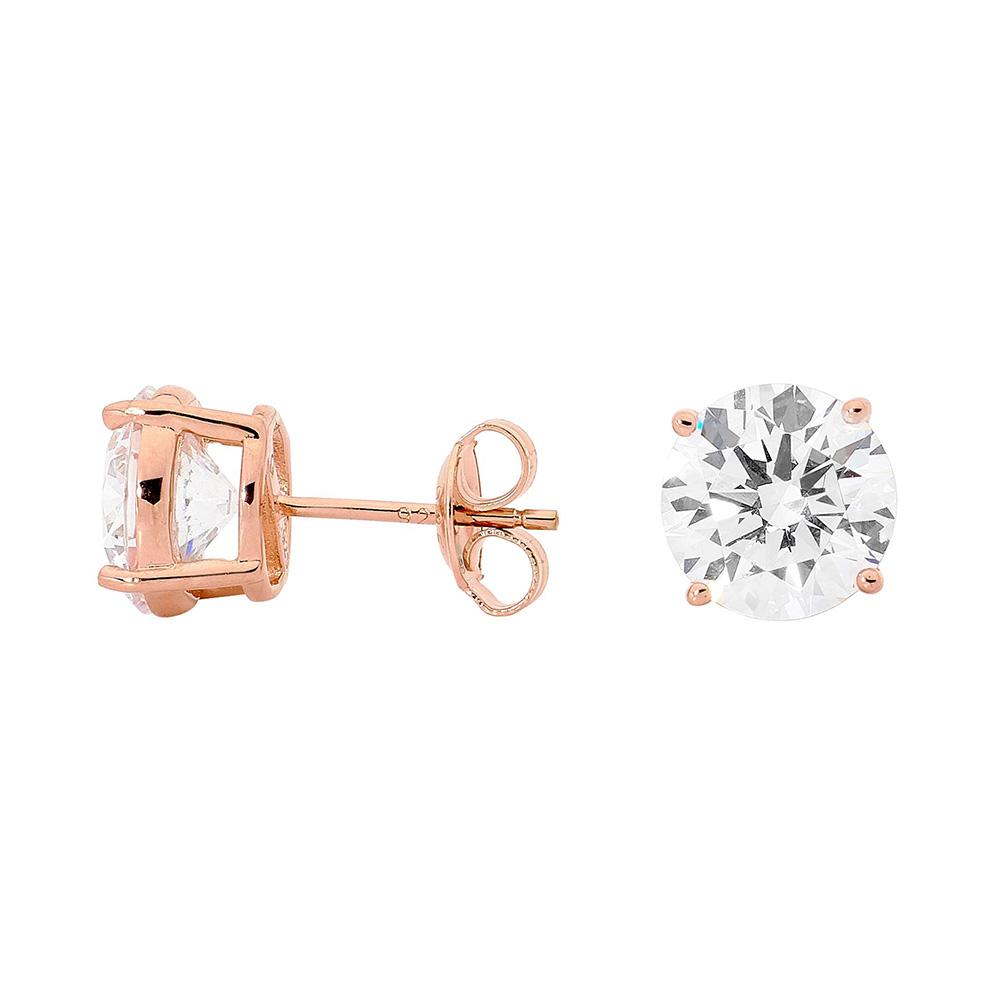Georgini 9mm Zirconia Rose Gold Plated Sterling Silver Stud Earrings
