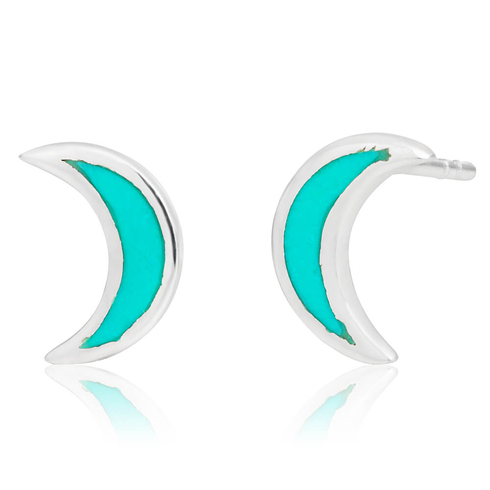 Sterling Silver Created Turquoise Moon Stud Earrings