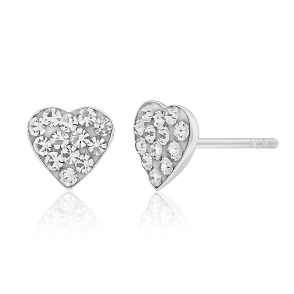 Sterling Silver Crystal White Heart Stud Earrings
