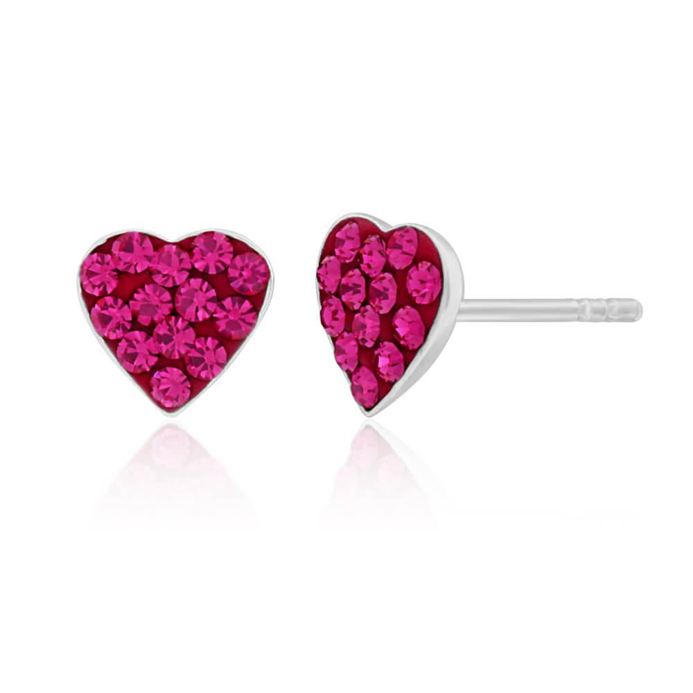 Sterling Silver Crystal Pink Heart Stud Earrings