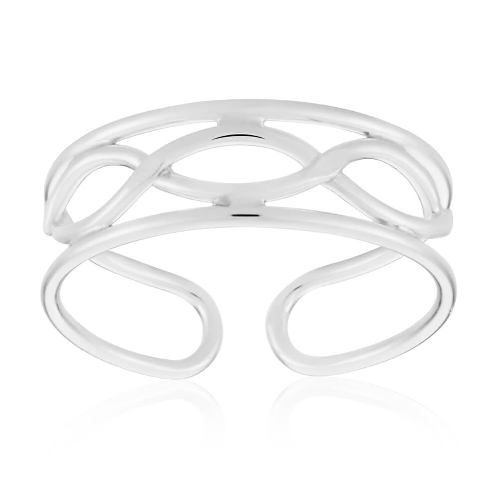 Sterling Silver Criss Cross Torque Toe Ring