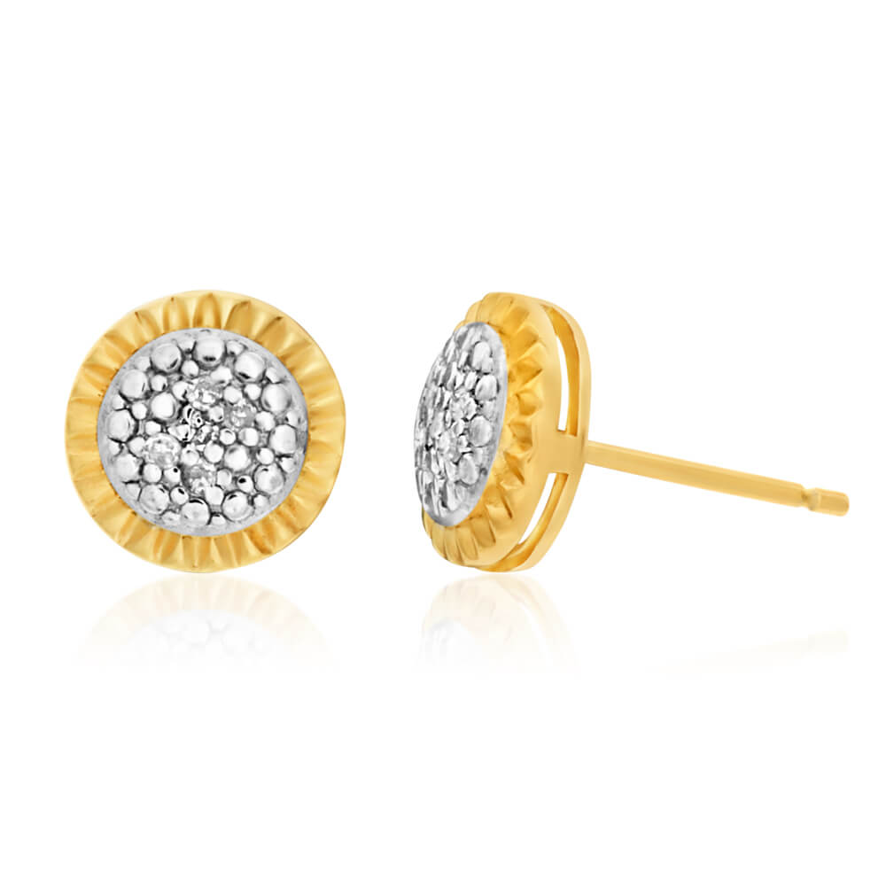 Sterling Silver and Gold Plated Stud Earrings with Diamonds