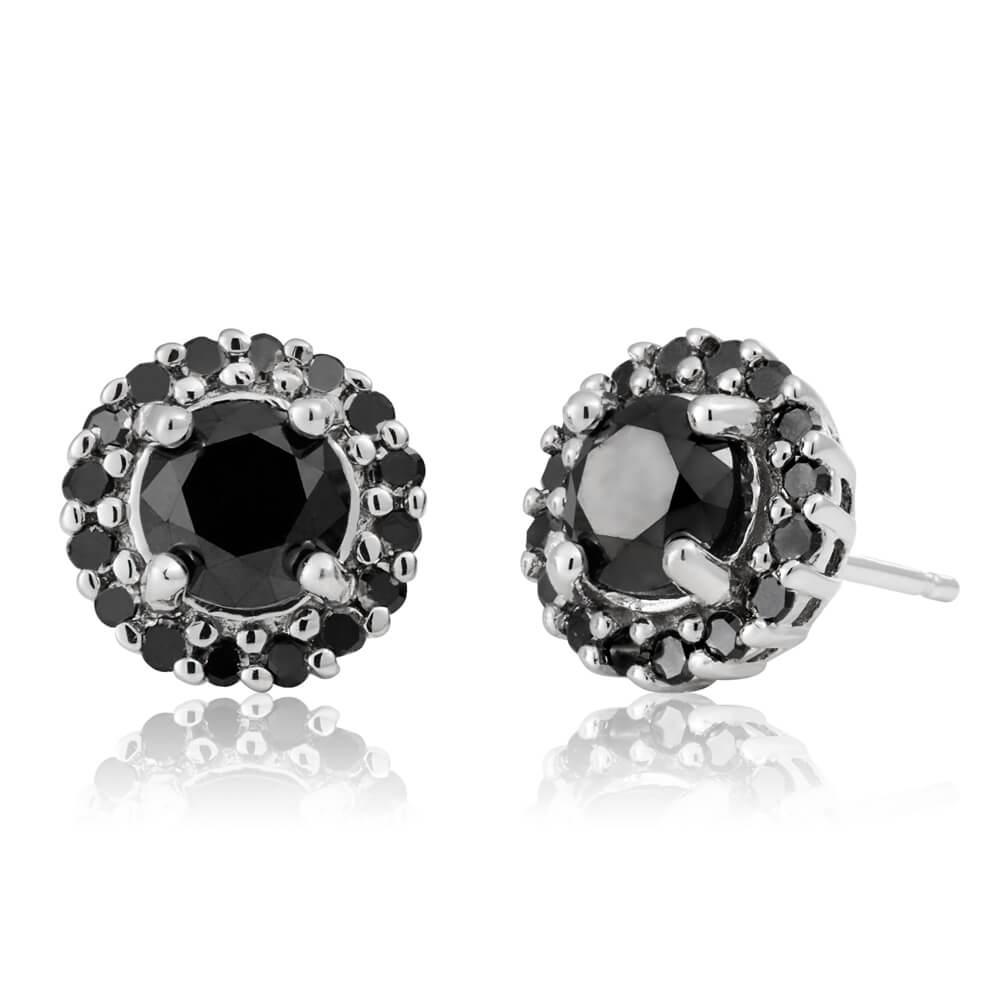 Black Diamond Sterling Silver Diamond Earrings