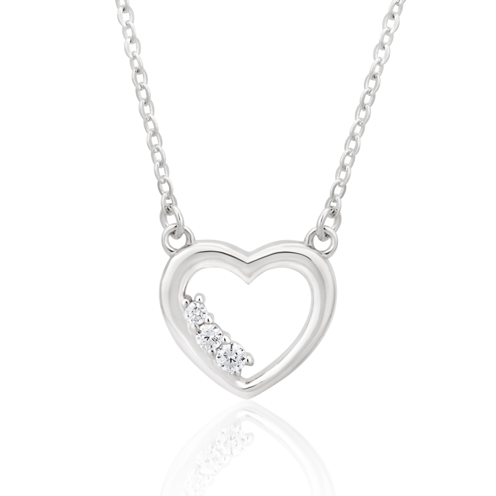Sterling Silver Rhodium Plated Cubic Zirconia Open Heart Pendant With 42 + 3cm Chain