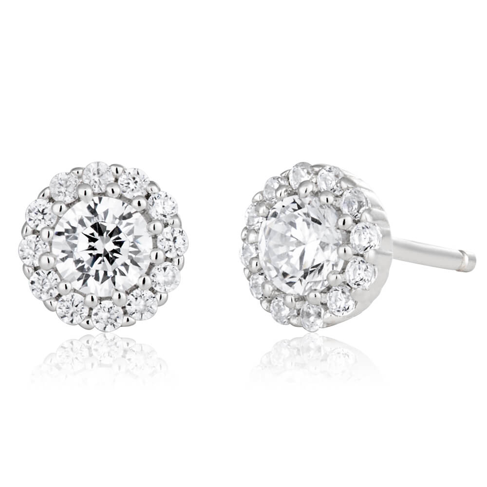 Sterling Silver 6mm Cubic Zirconia Halo Stud Earrings
