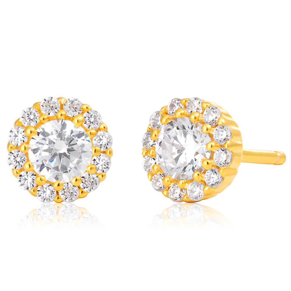 Gold Plated Sterling Silver Cubic Zirconia Brilliant Cut Halo Fancy Stud Earrings
