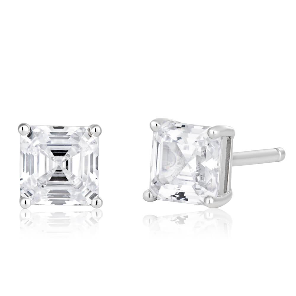 Sterling Silver Cubic Zirconia Octagon Step Cut Stud Earrings