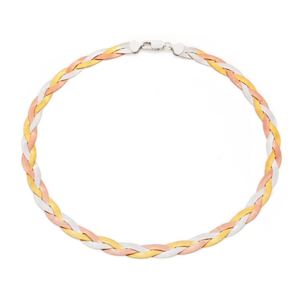 3 Tone Gold Plated Sterling Silver Herringbone Necklace 45cm