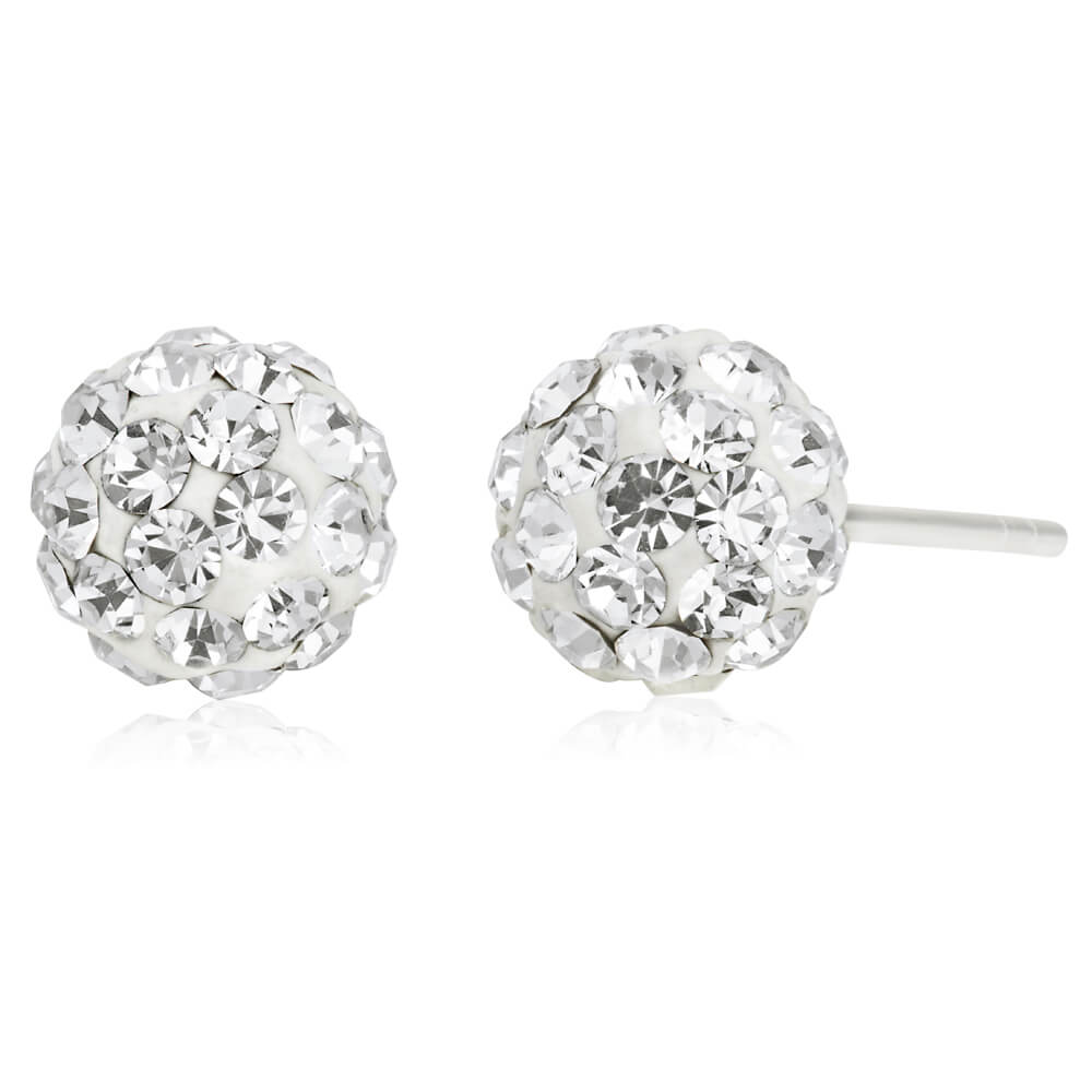 Sterling Silver Crystal White Ball Stud Earrings