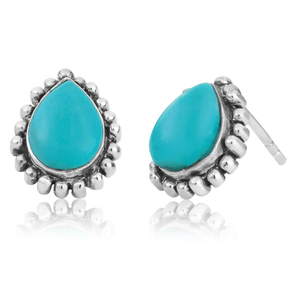 Sterling Silver Created Turquoise Pear Stud Earrings