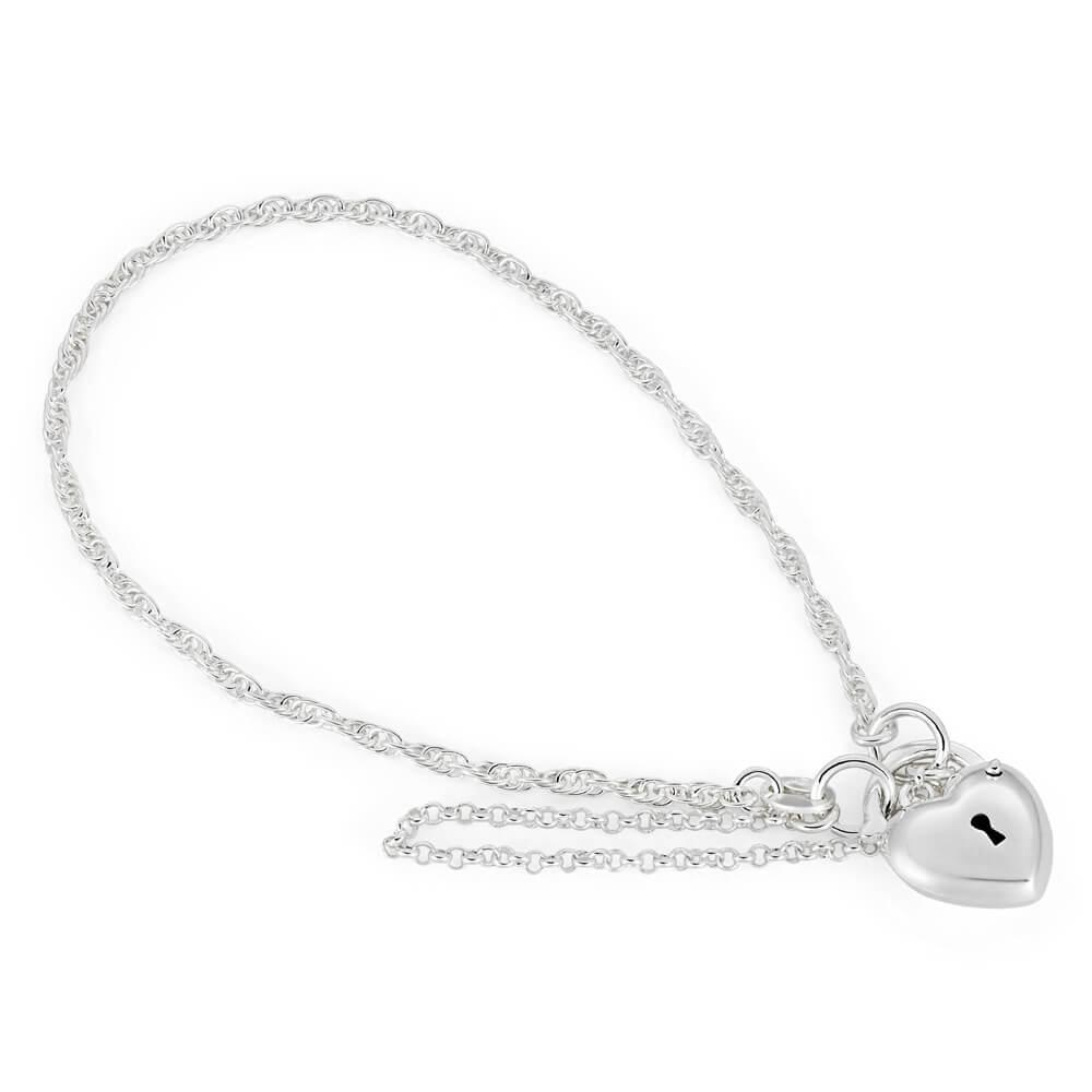 Sterling Silver Rope Puff Heart Padlock Bracelet