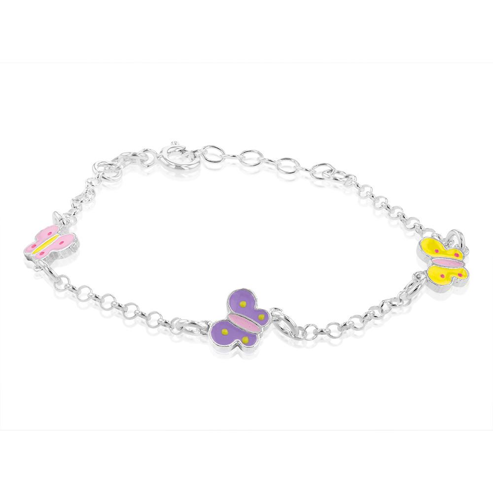 Sterling Silver Fancy Butterfly Charm Bracelet 14+2cm