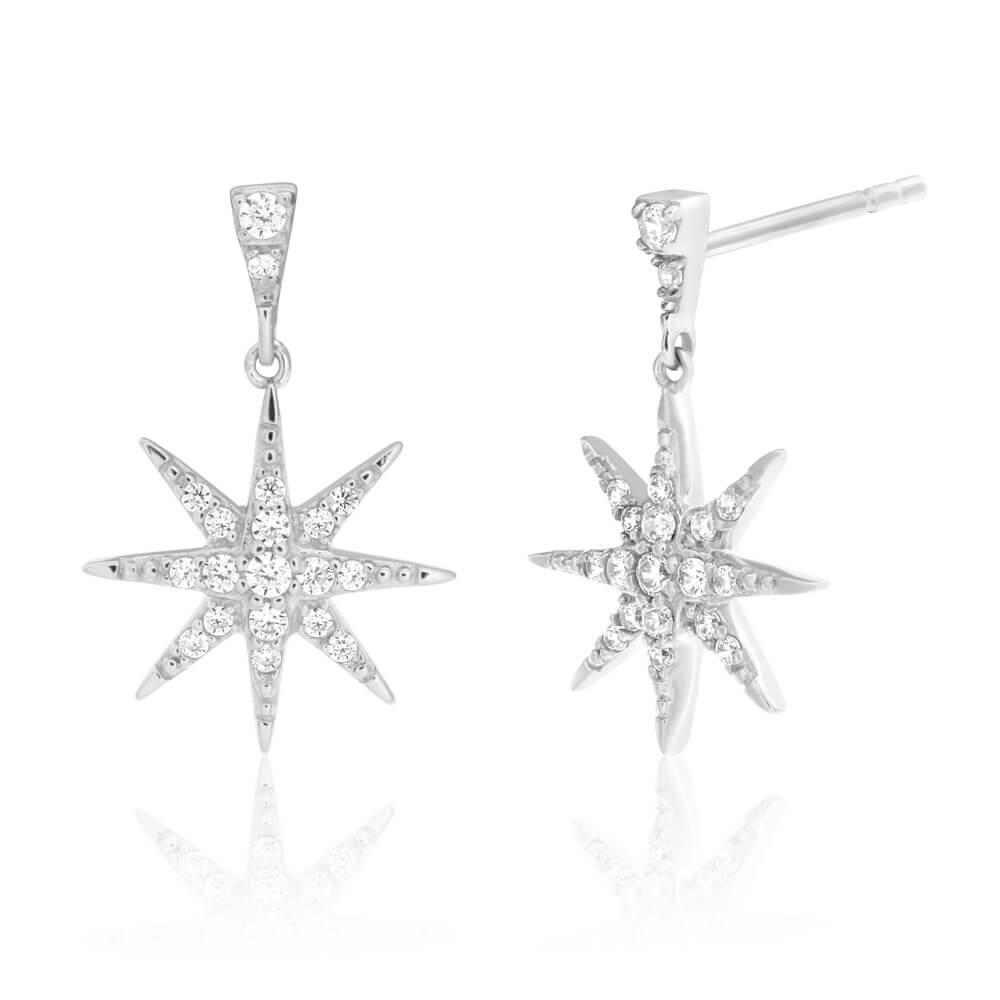 Sterling Silver Rhodium Plated Cubic Zirconia Starburst Drop Earrings