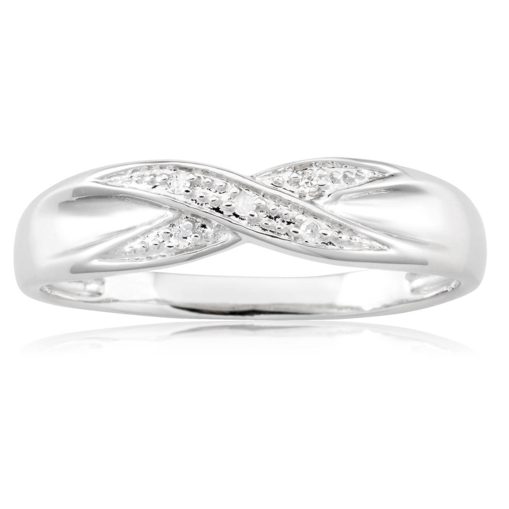Sterling Silver Crossover 5 Diamond Ring