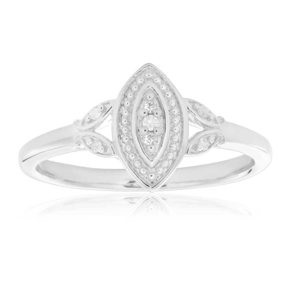 Sterling Silver Marquise Shaped Diamond Ring