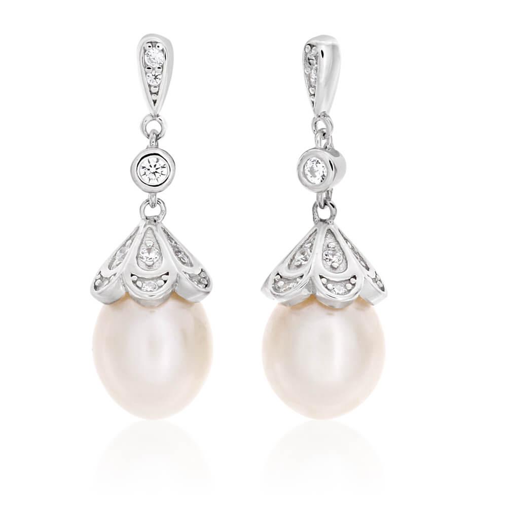 Sterling Silver Rhodium Plated Cubic Zirconia + Pearl Drop Stud Earrings
