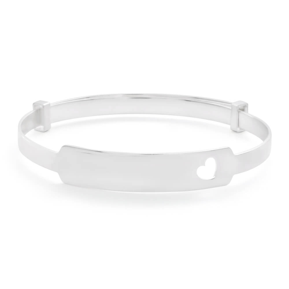 Sterling Silver ID Heart Cut Out Baby Bangle