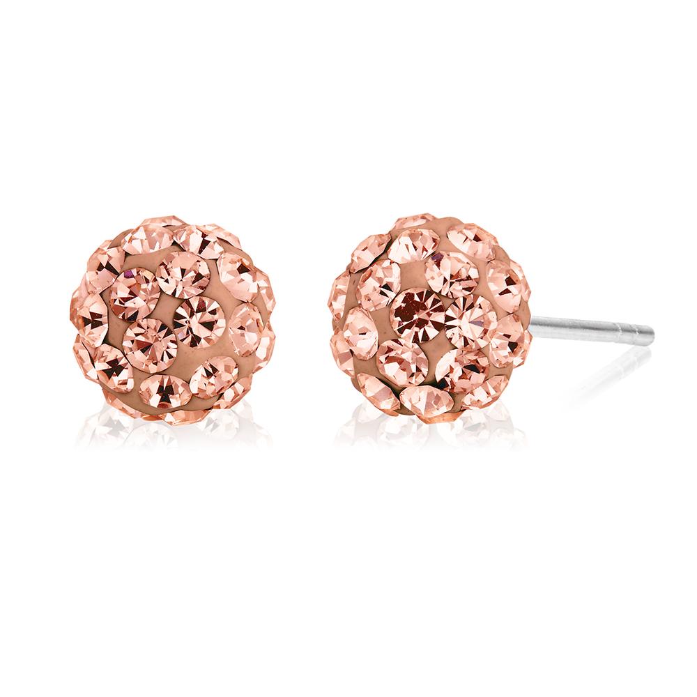 Sterling Silver Crystal Peach Stud Earrings