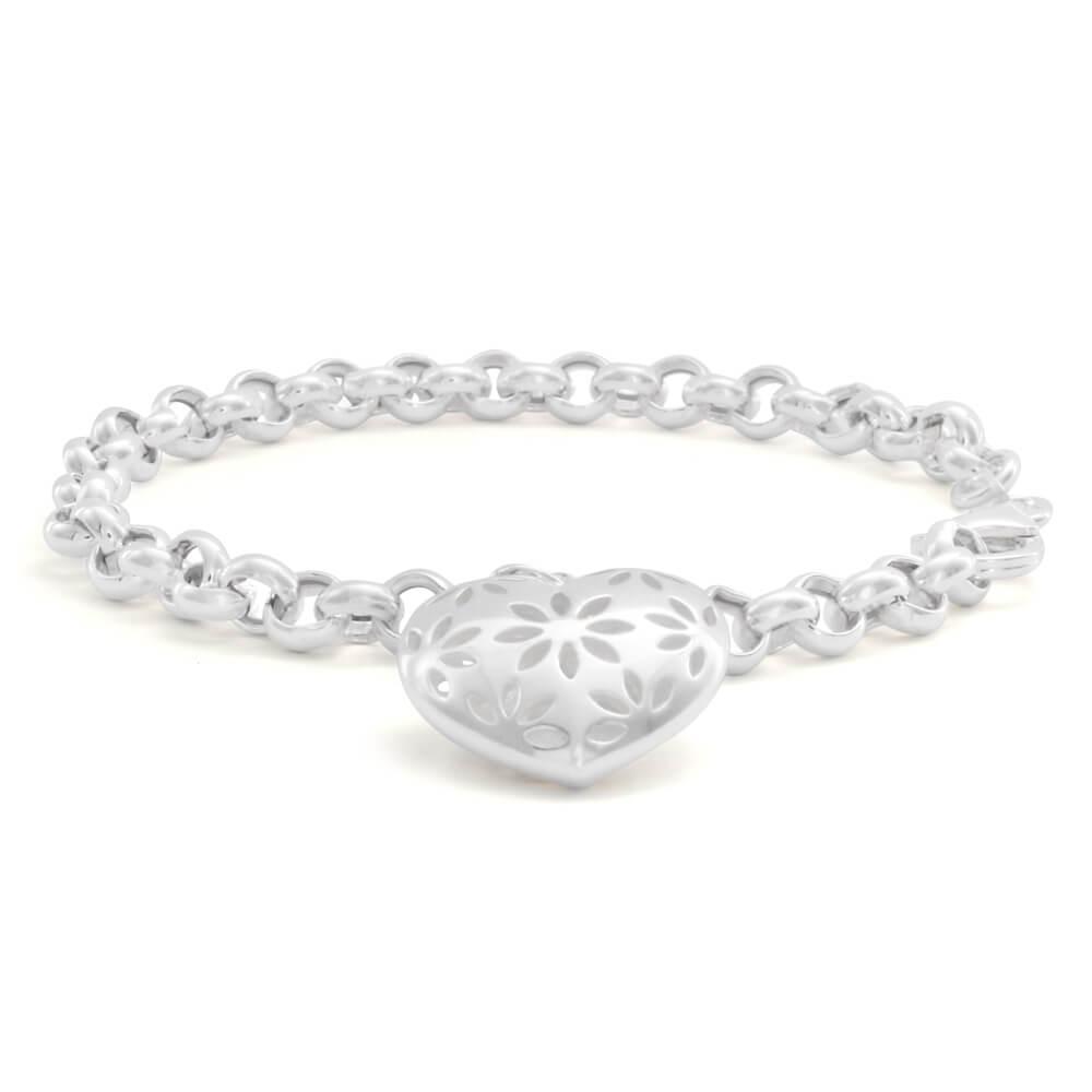Sterling Silver Belcher Heart Charm 19cm Bracelet