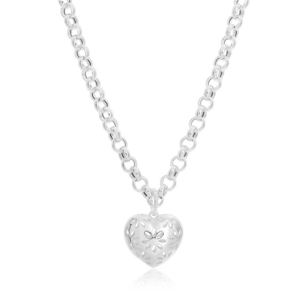 Sterling Silver Belcher Heart Charm Necklace 45cm