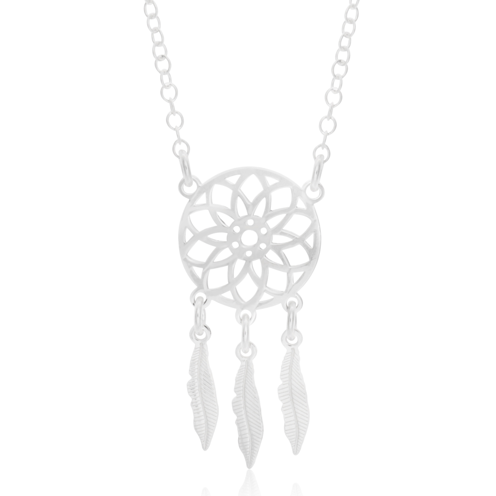 Sterling Silver Fancy Dreamcatcher Pendant With 45cm Chain