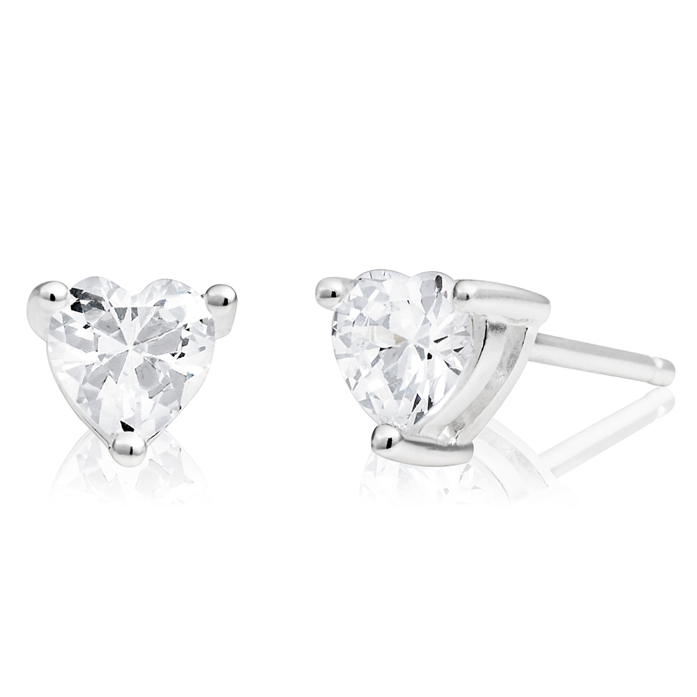 Sterling Silver Cubic Zirconia 5mm Heart Stud Earrings