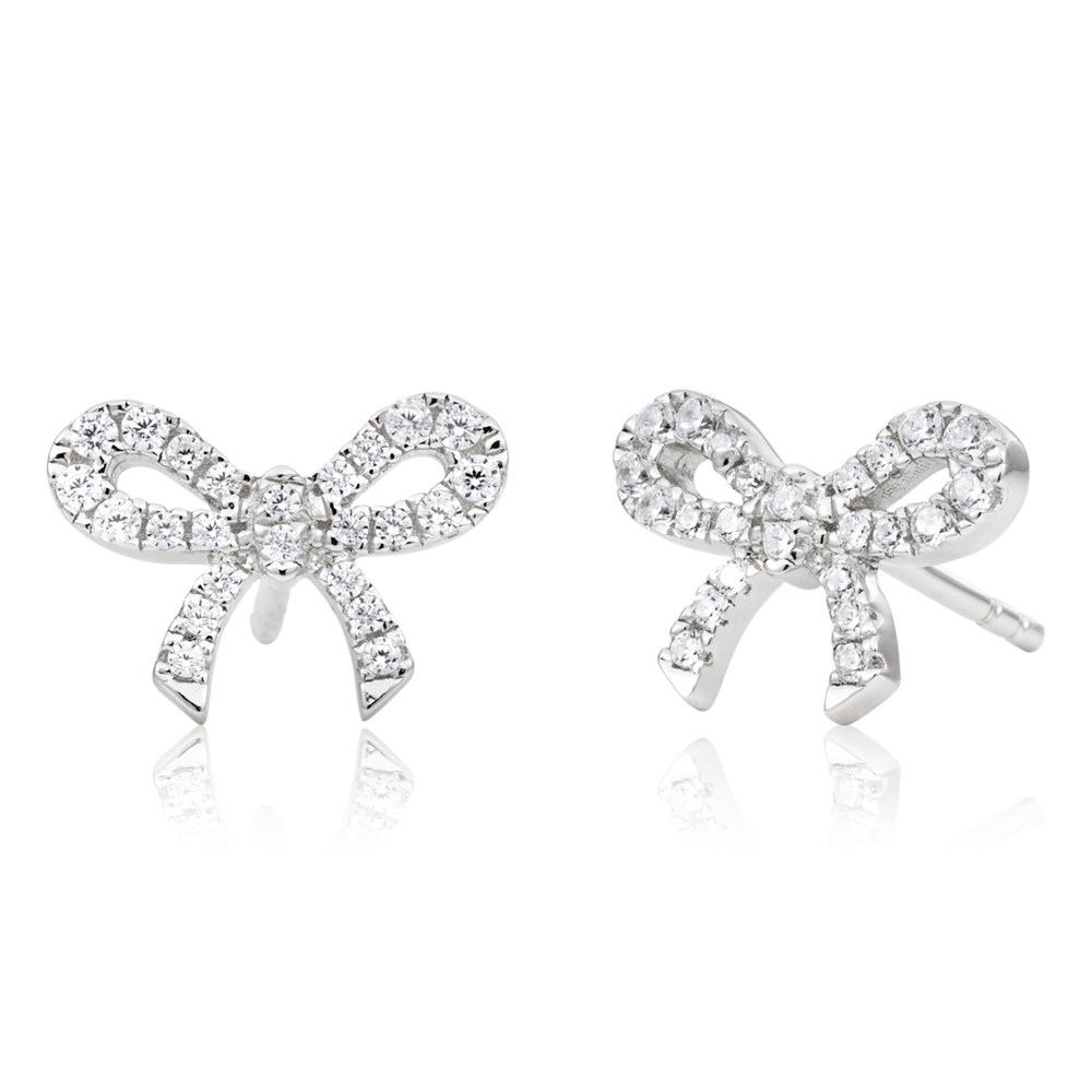 Sterling Silver Cubic Zirconia Bow Stud Earrings Rhodium Plated