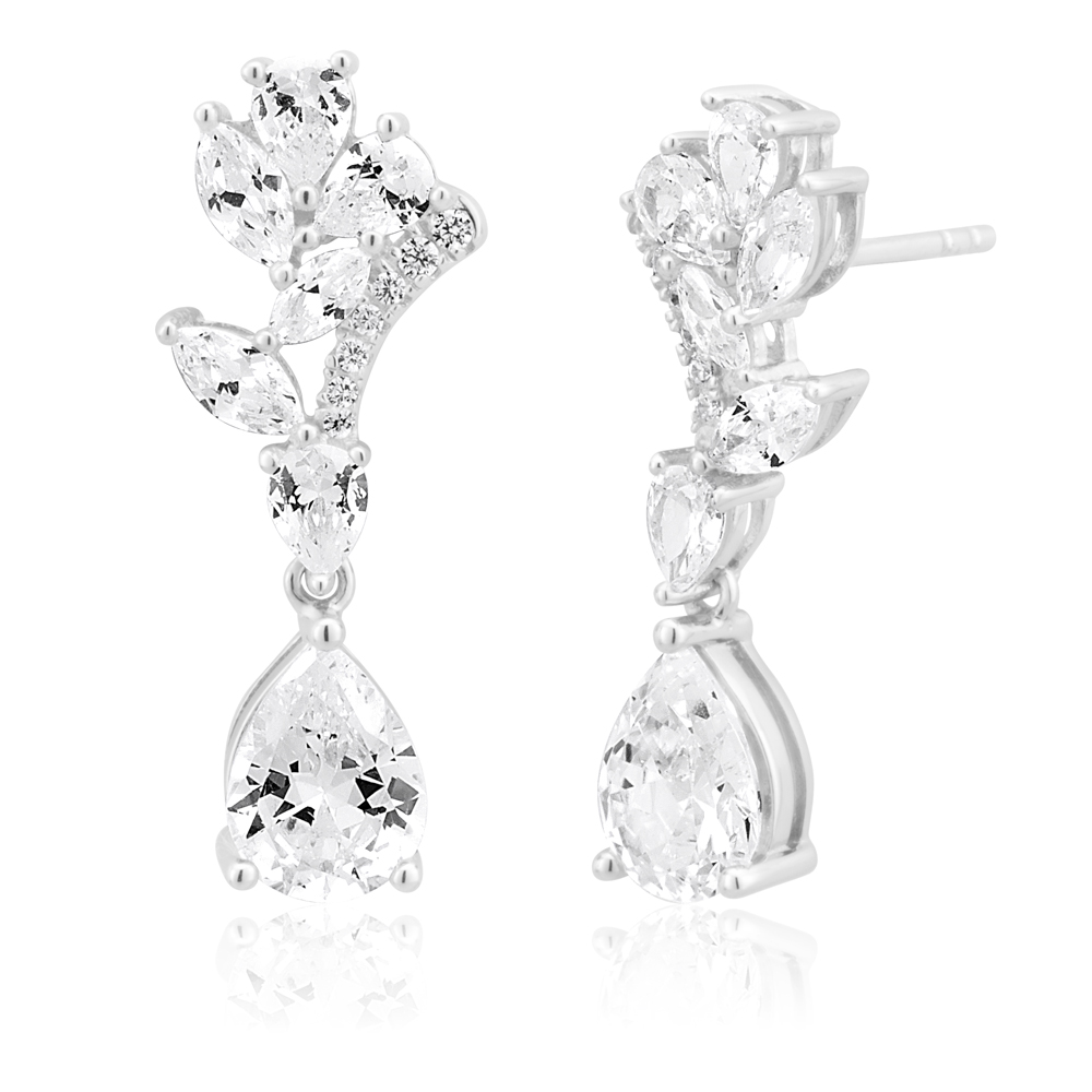 Sterling Silver Cubic Zirconia Fancy Marquise Drop Earrings