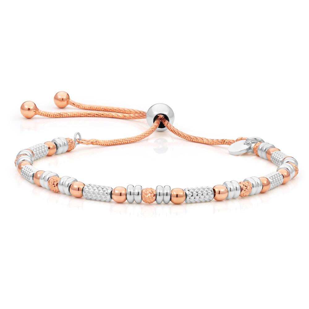 Sterling Silver Rose Gold Plated Fancy Bead Adjustable Bracelet