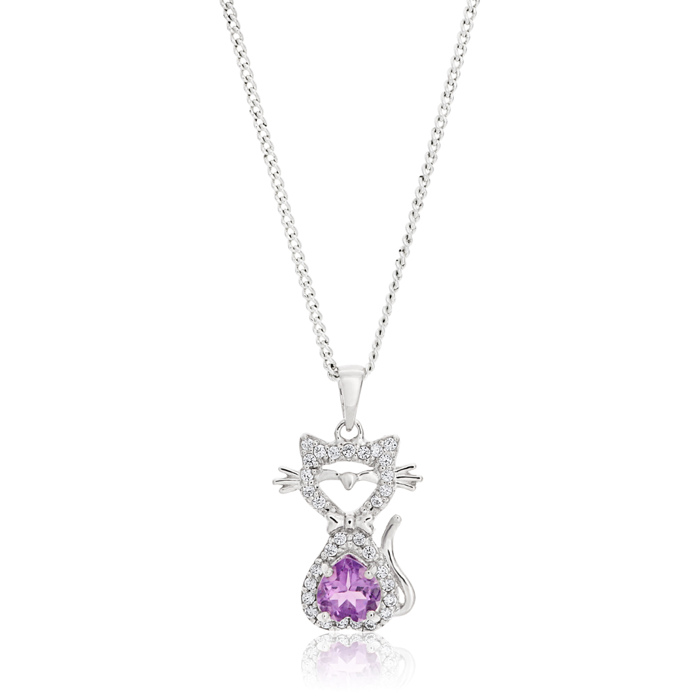 Sterling Silver Amethyst and Cubic Zirconia Cat Pendant